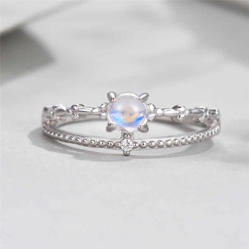 น่ารักหญิงขนาดเล็กแหวนมูนสโตนแท้ 925 เงินชุดแต่งงาน Leaf แหวนสัญญาหมั้นแหวน