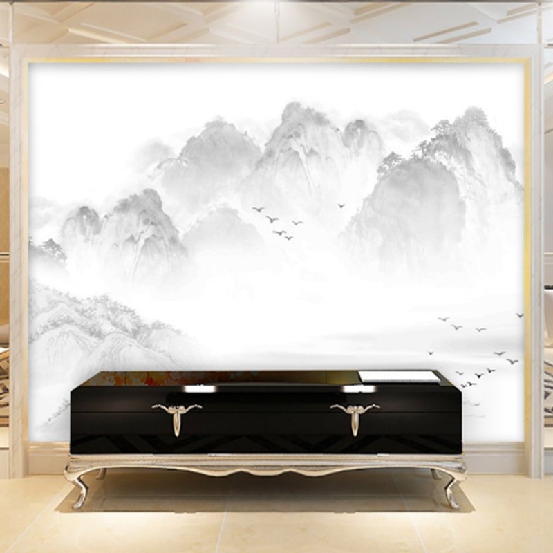 Custom Wallpaper large wall murals Chinese ink painting style landscape painting TV Walls bedroom living room Study home decor spring abundant flowers rich large mural wallpaper living room bedroom wallpaper painting tv background wall 3d wallpaper