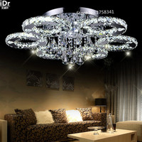 Краткое освещение для гостиной светодиодный хрустальный круглый потолочный светильник современный светодиодный хрустальный потолочный с