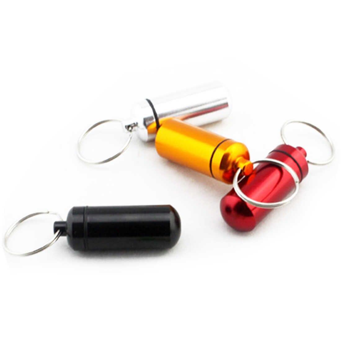 مصغرة مفتاح سلسلة الألومنيوم حبوب منع الحمل مربع الطب حالة الحاويات زجاجة حامل المفاتيح حلقة تسلق في الهواء الطلق حالة قبعة صغيرة مستديرة المحمولة