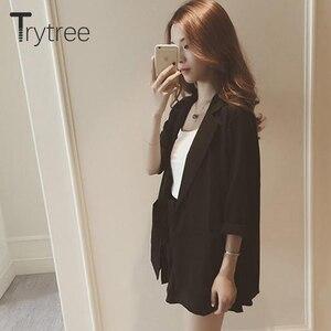 Image 3 - Trytree春夏の女性のツーピースセットカジュアルトップス + ショーツプラスサイズのチェック柄トップ女性オフィススーツセット女性の 2 個セット