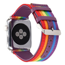 For Apple Watch Band, Nylon with Genuine Leather Sport Replacement Strap Wrist Band with Metal Adapter for iWatch Apple Watch
