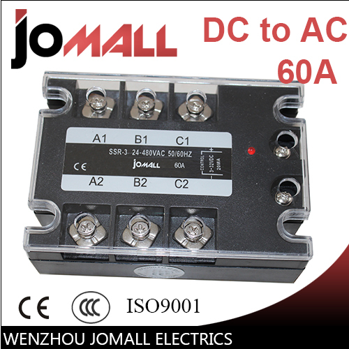 60A DC control AC SSR three phase Solid state relay free shipping mager 10pcs lot ssr mgr 1 d4825 25a dc ac us single phase solid state relay 220v ssr dc control ac dc ac