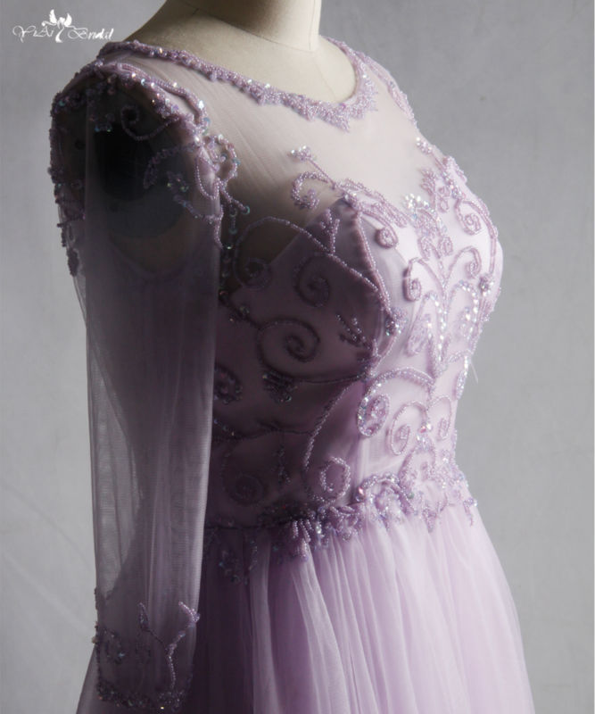 RSE714. long evening beading tulle prom dress lilac homecoming dresses (2)