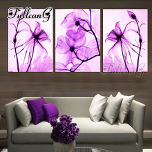 FULLCANG 3pcs/set diy diamond painting purple transparent flower triptych mosaic cross stitch 5d embroidery full drill G1293
