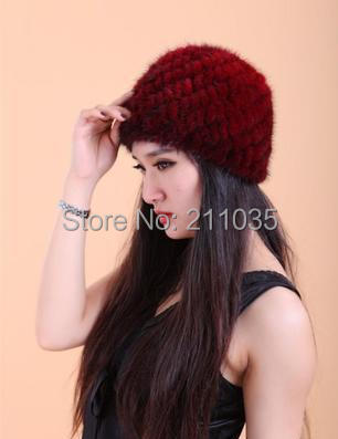 Female autumn winter plus size knitted Mink fur hair hat women pineapple mink fur caps Woman Plus size mink fur hats
