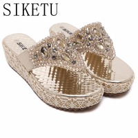 SIKETU Gold Silver Beading Rhinestones Women Summer Style Shoes Flip Flops Women Sandals Wedge Shoes J38
