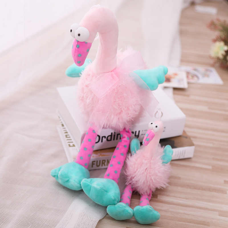 Cute Pink Flamingo Plush Soft Toy Stuffed Animal Boneca de Pelúcia Grandes Olhos Pelúcia Aves Playmates Do Miúdo Dos Desenhos Animados Brinquedos de Pelúcia de Aniversário Da Menina presente