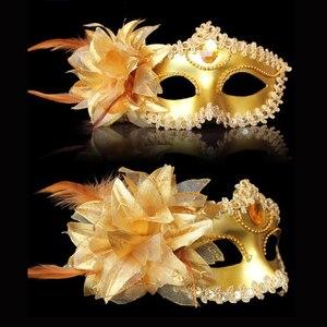 Image 3 - Sexy Diamond Venetian Mask Venice Feather Flower Wedding Carnival Party Performance Purple Costume Sex Lady Mask Masquerade