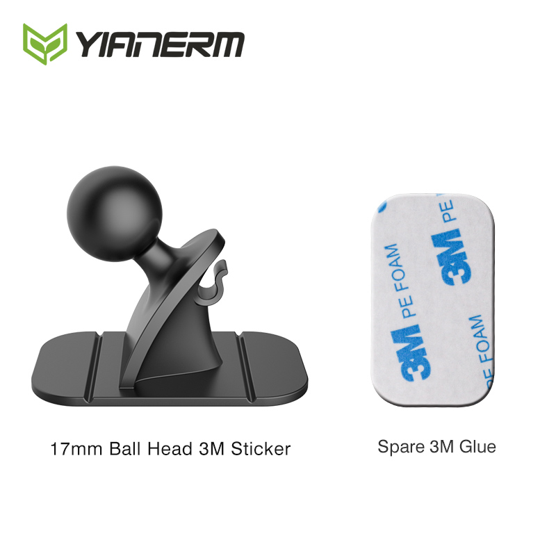 Yianerm Universal 17mm Ball Head 3M Sticker Base Accessory Air Vent Turn Mount Used For Car Phone Holder Accessory