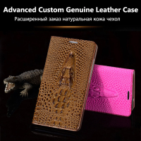 Cover Case For iPhone 6 6S 7 Plus Top Quality Top Genuine Leather Flip Card Luxury Case 3D Crocodile Grain Phone Bag + Free Gift