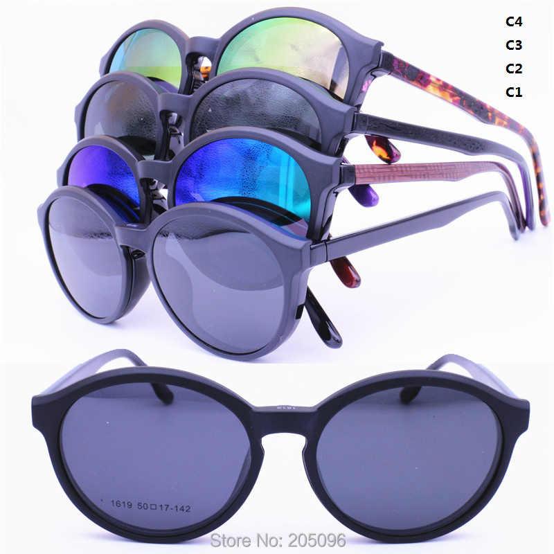 31e2a4a5ed8c ... 1619 oval shape acetate combined TR90 prescription glasses with  megnatic clip on removable polarized sunglasses lenses