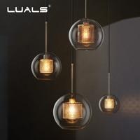 LUALS Loft Pendant Lamp Vintage Pendant Lights Simple Glass Suspension Luminaire Art Deco Lighting Edison Nordic Hanging Light