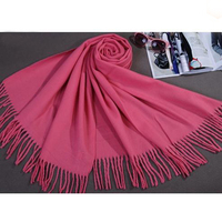 Pink Chinese Women S Faux Cashmere Wrap Winter Thick Warm Shawl Scarf Long Tassels Tippet Mujere