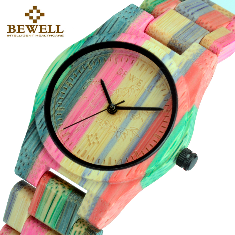 BEWELL Quartz-Wristwatches Bamboo Watch Womens Woman Luxury with Mesh Fashion Bracelet