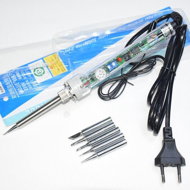 Электрический паяльник с вилкой европейского стандарта, 220 В, 60 Вт, 907, регулируемый, постоянный, бессвинцовый, внутренний нагрев + 5 наконечни...