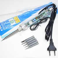 Enchufe europeo 220 V 60 W 907 ajustable temperatura constante sin plomo calefacción interna soldador eléctrico + 5 piezas punta