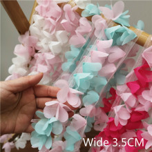 купить 3.5CM Wide Gradient Colors Chiffon Lace Ruffle Trim Ribbon Flowers Embroidery Lace fabric Garment Dress Skirt DIY Sewing Guipure в интернет-магазине