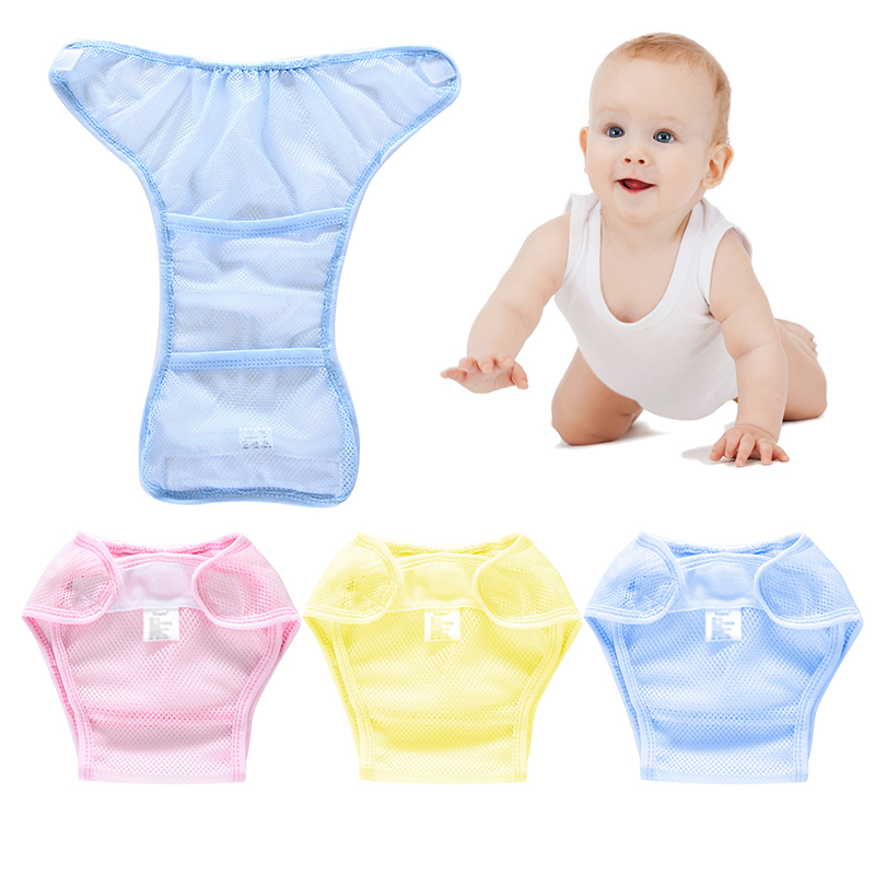 Multi-function Unisex Reusable Diaper Newborn Baby Net Grid Diaper Sticky Buckle Adjustable Comfortable Cover Leak-proof