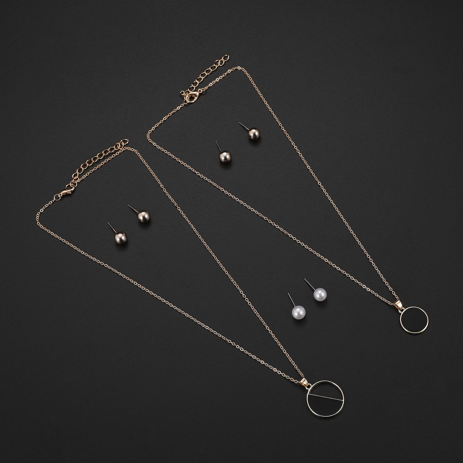 Gold Color Simulated Pearl Jewelry Suit For Women Black Circle Pendant Necklace Earrings Set