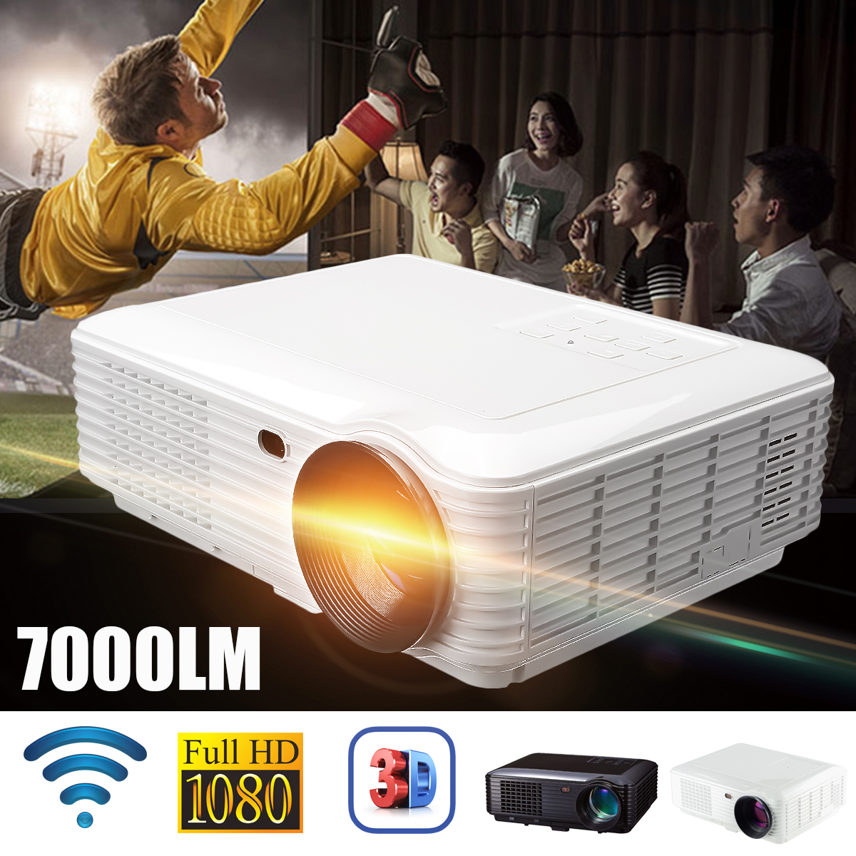цена на SV-228 WiFi Version Projector 7000 Lumens 1080P Portable Led Projector Digital Projector with AV VGA cable
