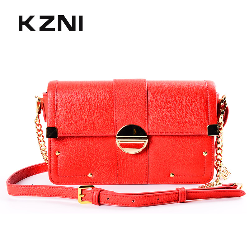 KZNI Genuine Leather Handbags for Girls Bag with Chain Leather Shoulder Bag Ladies Handbags Purse Women Bolsa Feminina 1436 kzni genuine leather purses and handbags bags for women 2017 phone bag day clutches high quality pochette bolsa feminina 9043