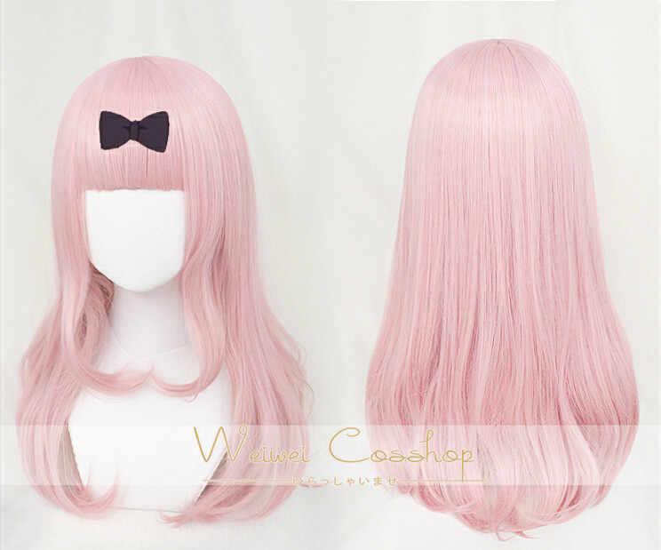 Anime Fujiwara Chika Cosplay Wig Merah Muda Palsu Gadis Rambut Keriting Peritoneum