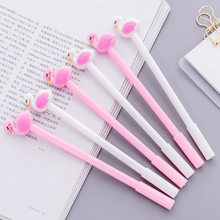 0.5mm Beautiful Swan Pink Flamingos Gel Pen For Writing Kawaii Plastic Creative Neutral Pens School Supplies Korean Stationery(China)