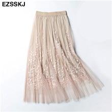 b2da08a606d Высокое качество элегантная Тюлевая длинная Плиссированная юбка женская 2018  летняя Цветочная вышивка трапециевидная юбка-пачка