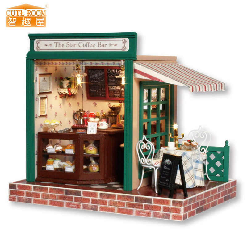 Meubels DIY Poppenhuis Wodden Miniatura Poppenhuizen Meubelpakket Puzzel Handgemaakte poppenhuisspeelgoed voor kinderen meisje cadeau z005