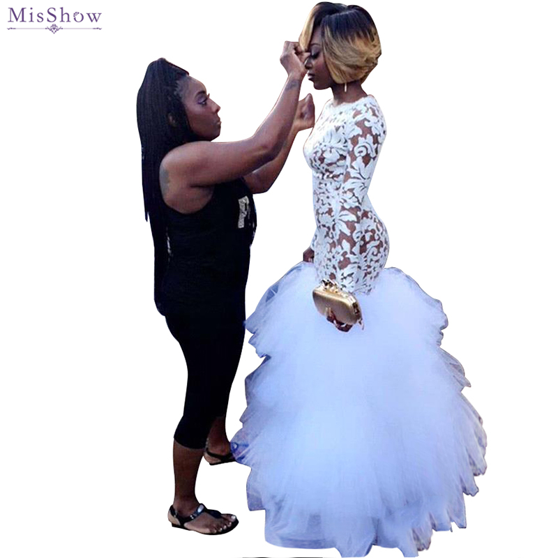 Beautiful White Lace Long Sleeve Mermaid   Prom     Dresses   2019 Ruffles Party   Dresses   Girls African   Prom     Dresses   Custom Size