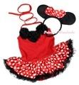 Минни детское платье шеи розетки красный рукавов боди горошек ползунки Nb-18m MAPSA0943