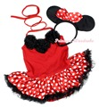 Minnie Baby Dress Neck Rosettes Red Sleeveless Bodysuit Polka Dots Tutu Romper Nb-18m MAPSA0943