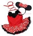 Minnie vestido do bebê pescoço rosetas Red mangas Bodysuit bolinhas Tutu Romper Nb-18m MAPSA0943