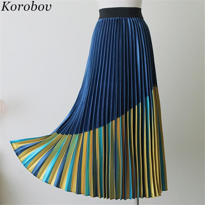 Korobov Blue Yellow Patchwork Shiny Saia Falda A-Line Female Skirts Vintage Pleated Silk Mid Women Print Skirt 76958