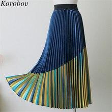 Print Skirt Pleated-Silk Korobov A-Line Mid Patchwork Vintage Women 76958 Falda Saia