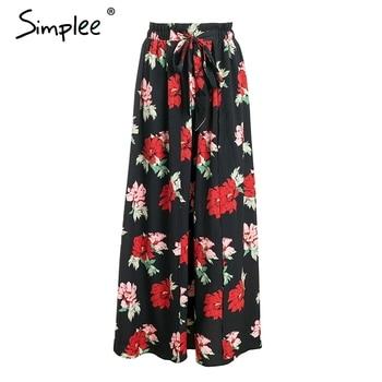 Simplee High imprimé jupe longue femmes Summer style sash floral maxi jupe femme 2018 Streetwear décontracté jupe boho de plage