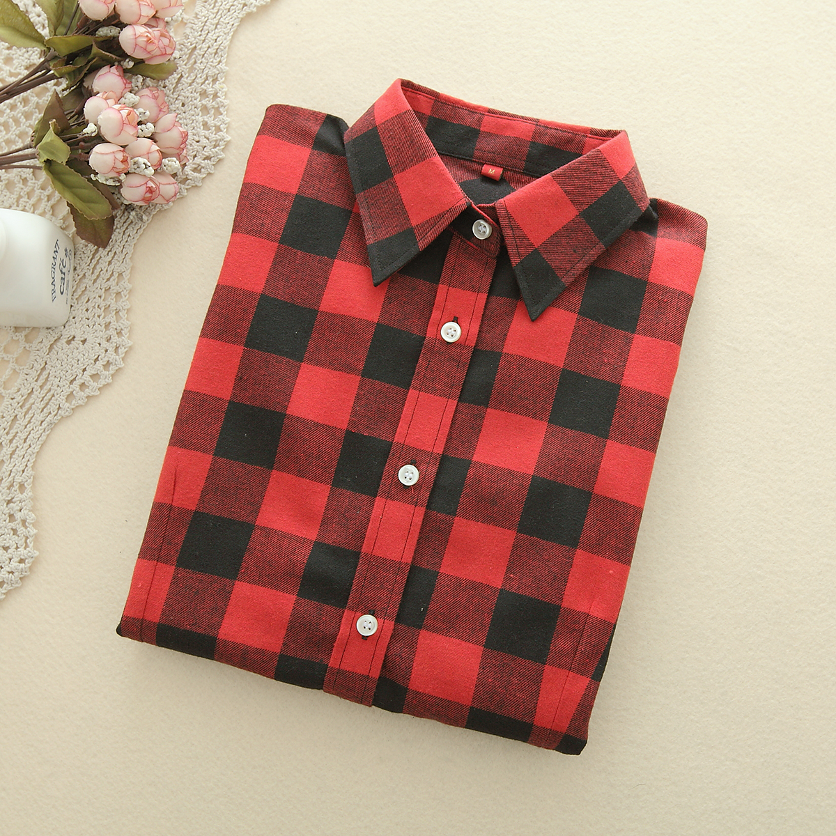 2019 Fashion Plaid Shirt Kvinne College Style Dame Bluser Langermet Flannel Shirt Plus Size Cotton Blusas Office Topper