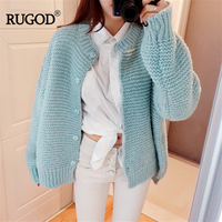 RUGOD Women Solid Single Breasted Long Sleeve Warm Sweater 2018 Autumn Winter Cardigan Female Sweet Knitted Sweater Pull Femme