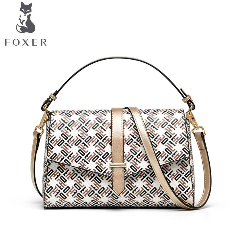 купить FOXER brand bags for women 2018 new women leather bag fashion Cowhide with PVC designer women leather handbags shoulder bag по цене 4026.81 рублей