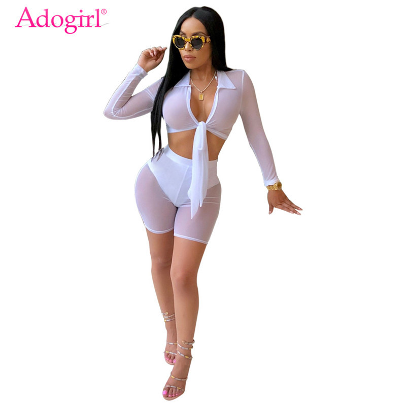 Adogirl Sheer Mesh Women Sexy Night Club Two Piece Set Turn Down Collar Long Sleeve Front Tie Crop Top Shorts With Briefs Outfit