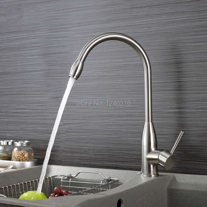Brushed Steel Single Handle Lead Free Kitchen Faucet with High Arc Swivel Spout SUS304 Stainless Steel