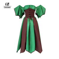 ROLECOS Renaissance Victorian Women Dresses Medieval Lolita Dress Off Shoulder Gothic Style Dress for Halloween Masquerade