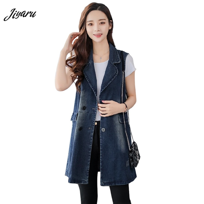 1piece Female Double Breasted Vests Casual Sleeveless Tops Women Soft Denim Vests Girl Turn-down Collar Clothing Size S-3XL