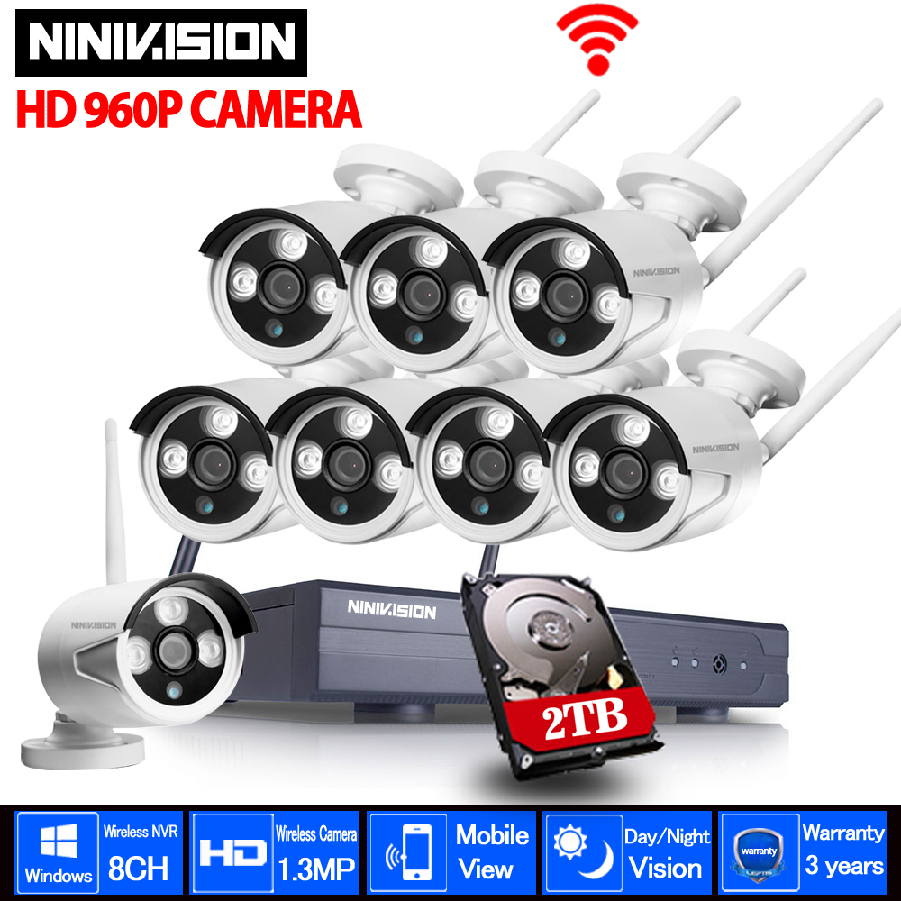 CCTV Системы 960 P 8CH HD Беспроводной комплект Ночное видение IP Камера Wi Fi видеонаблюдения Камера комплект домашней безопасности Системы видеона