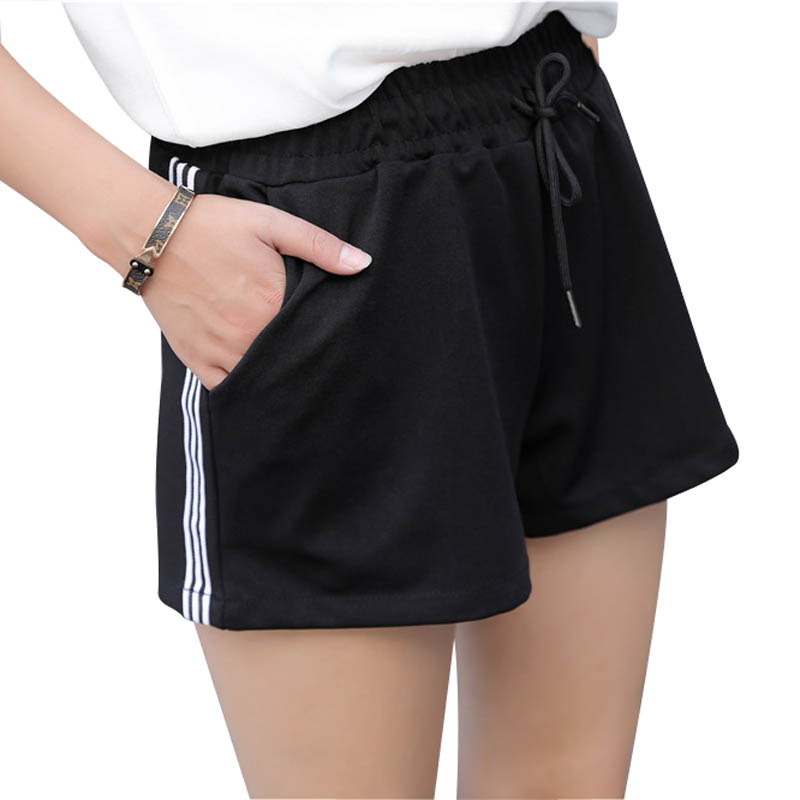 DANJEANER Hot Sale Yo-Ga Drawstring Shorts Women Casual Loose Wide Leg Shorts Elastic Waist Short Femme Plus Size Streetwear