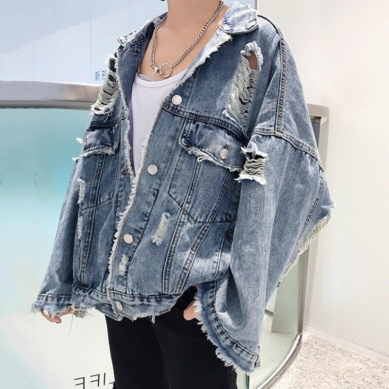 Cassé Style Pour Jean En Veste Décontracté Denim Chart 2018 Hiver See Manteau Femmes Trou Loose Jeans Fit 5qWTO4