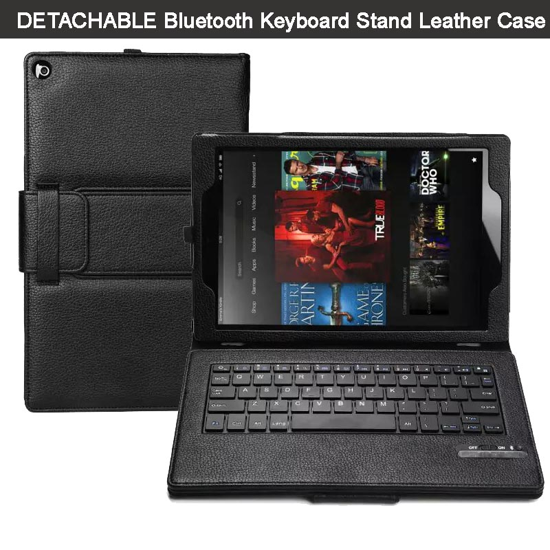Magnetically Removable Wireless Bluetooth Keyboard kickstand Folio PU Leather Case Cover for Amazon Fire HD 10 10.1 inch 2015