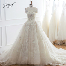 Fmogl Sexy V Neck Ball Gown Lace Wedding Dresses 2019 Appliques Beaded Vintage Bride dress Robe De Mariage Plus Size