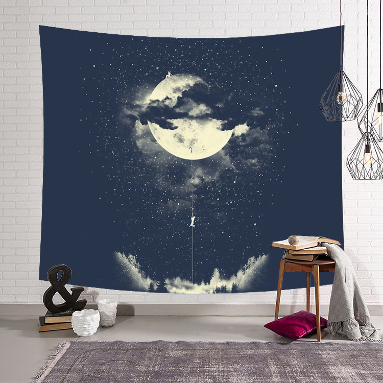Stars Fox Moon Hanging Wall Tapestry Hippie Retro Home Decor Yoga Beach Towel Curtains Plus Long Table Cover 150x130cm/150x200cm ...